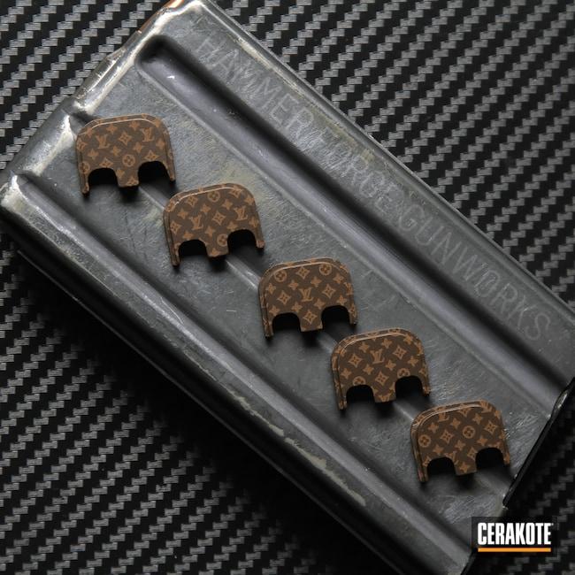 Cerakoted: S.H.O.T,Aluminum Backplate,Glock,Louis Vuitton,Laser Engrave,Plum Brown H-298