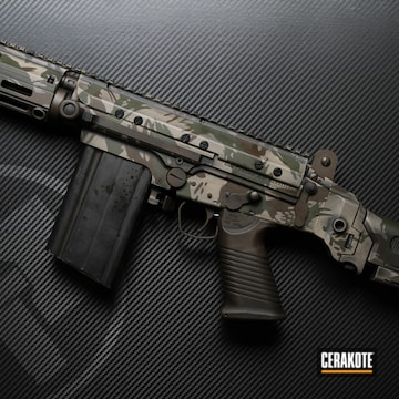Brush Camo Tactical Rifle Cerakoted Using Graphite Black, Flat Dark Earth And Mil Spec O.d. Green