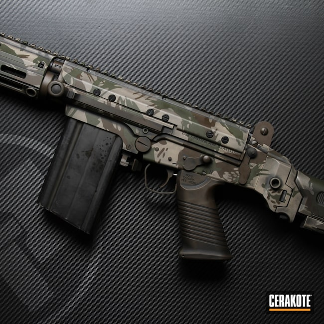 Cerakoted: S.H.O.T,DSA,Rhodesian Brushstroke,Battleworn,FN FAL,Battleforged,Graphite Black H-146,Mil Spec O.D. Green H-240,Tactical Rifle,Brush Camo,Flat Dark Earth H-265,.308