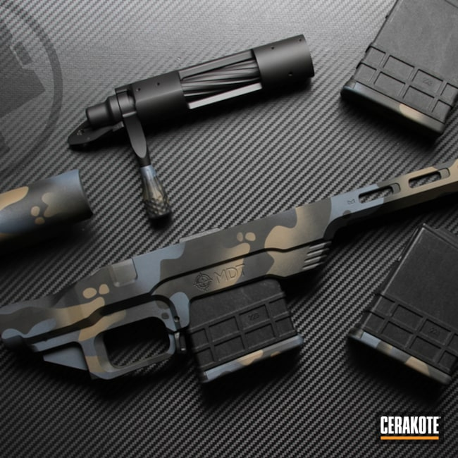 Custom Camo Mdt Chassis, Magazines And Bolt Action Cerakoted Using Multicam® Dark Grey, Graphite Black And Flat Dark Earth