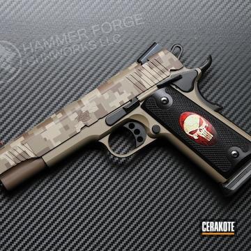 Digicam Kimber 1911 Pistol Cerakoted Using Plum Brown, Benelli® Sand And Magpul® Flat Dark Earth
