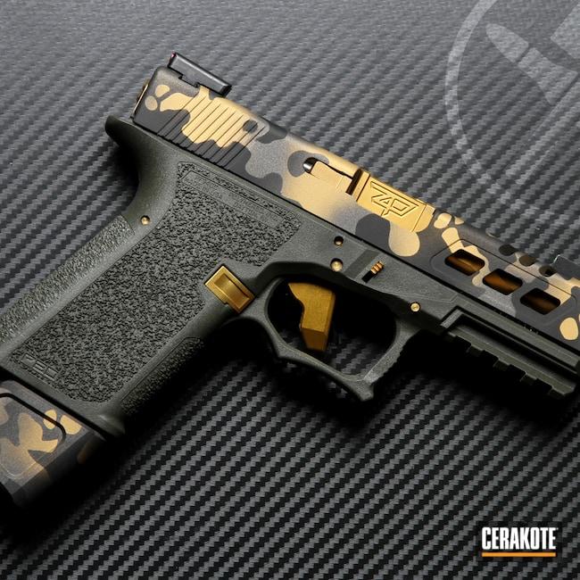 Cerakoted: S.H.O.T,Glock 19,Polymer80,MultiCam,Graphite Black H-146,Tungsten H-237,Glock,Gold H-122