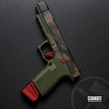 Woodland Camo Glock 17 Pistol Cerakoted Using Usmc Red, Chocolate Brown And Graphite Black