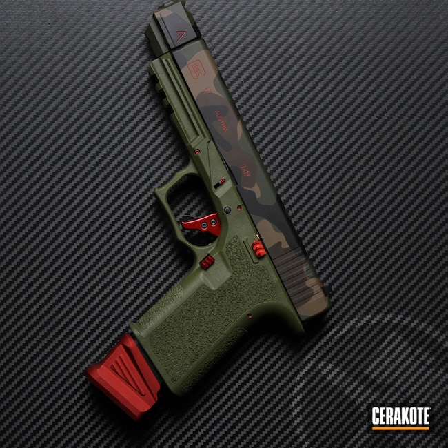 Cerakoted: S.H.O.T,Polymer80,M81,MAGPUL® FLAT DARK EARTH H-267,Woodland Camo,Graphite Black H-146,Mil Spec O.D. Green H-240,USMC Red H-167,Glock,Agency Arms,Chocolate Brown H-258