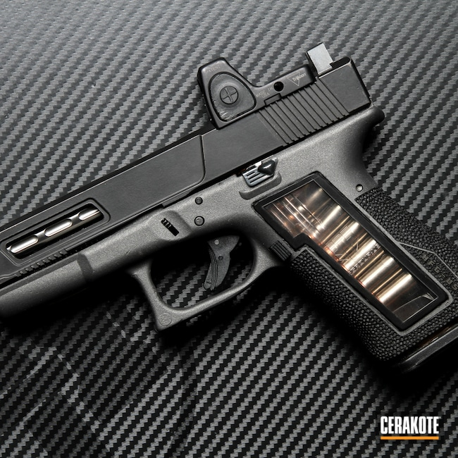 Cerakoted: S.H.O.T,Glock 19,Laser Stippled,Graphite Black H-146,Tungsten H-237,Glock,Handguns,Window