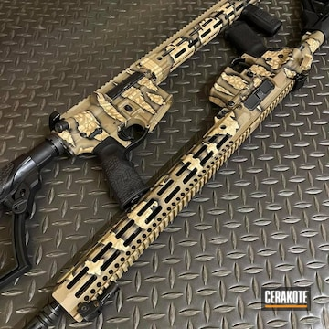 Reptile Camo Ar's Cerakoted Using Desert Sand, Graphite Black And Magpul® Fde