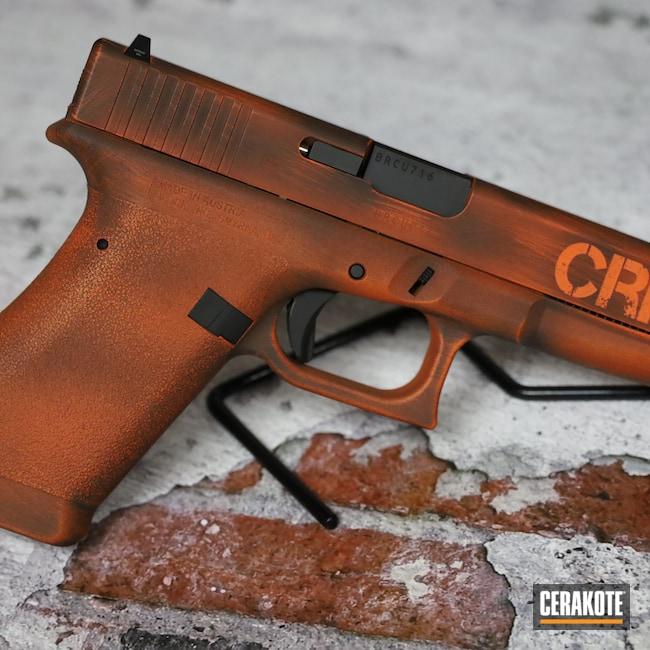 Cerakoted: S.H.O.T,9mm,Engraving,Engraved,Graphite Black H-146,Distressed,Pistol,Glock,Laser Engrave,Hunter Orange H-128,P80,Handgun