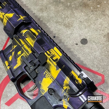 Ar Cerakoted Using Corvette Yellow, High Gloss Armor Clear And Graphite Black