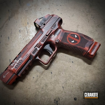 Deadpool Themed Canik Cerakoted Using Firehouse Red