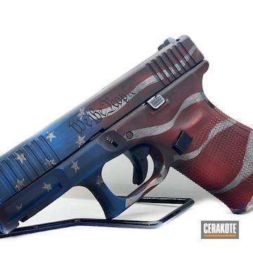 United Sates Flag Themed Glock 19 Cerakoted Using Bright White, Nra Blue And Graphite Black
