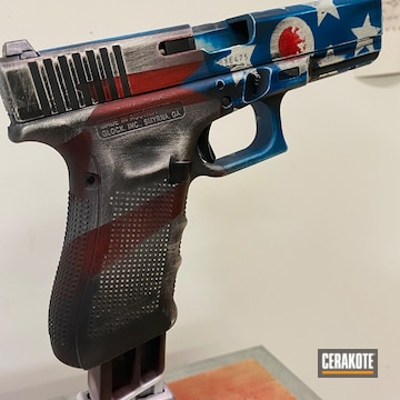 Battleworn American Themed Flag Glock Cerakoted Using Crimson, Stormtrooper White And Nra Blue