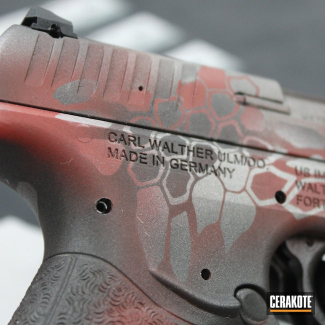 Cerakoted: S.H.O.T,Hex,CCP,Gun Metal Grey H-219,Pistol,Cobalt H-112,.9,Handgun,9mm,Kryptek,Walther,FIREHOUSE RED H-216,Custom,Camo,Satin Aluminum H-151,Camouflage