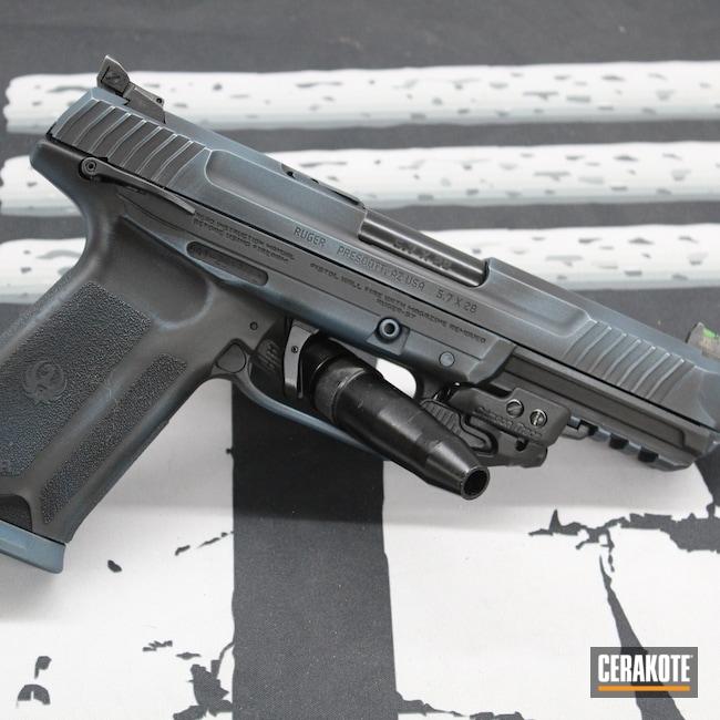 Cerakoted: S.H.O.T,Battleworn,Ruger,Distressed,Armor Black H-190,Pistol,Ruger-57,PDW,5.7,Blue Titanium H-185,Handgun