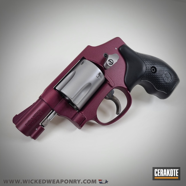Cerakoted: S.H.O.T,38 Special,Airweight,BLACK CHERRY H-319,Smith & Wesson,Revolver