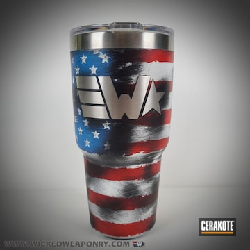 Distressed American Flag Themed Tumbler Cerakoted Using Stormtrooper White, Usmc Red And Nra Blue