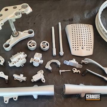 Ducati Motorcycle Parts Cerakoted Using Satin Aluminum
