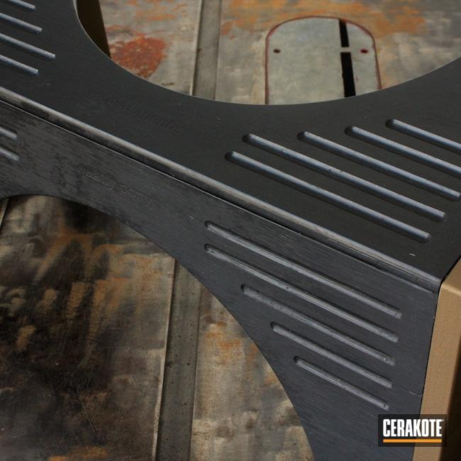 Cerakoted: Wood,Stool,Armor Black C-192,Burnt Bronze C-148