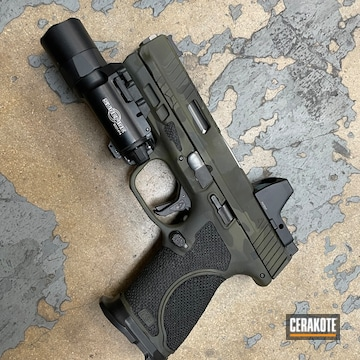 Multicam Smith & Wesson M&p Cerakoted Using Sniper Green, Sig™ Dark Grey And Graphite Black