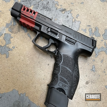 Battleworn Hk Vp9 Pistol Cerakoted Using Crimson And Graphite Black