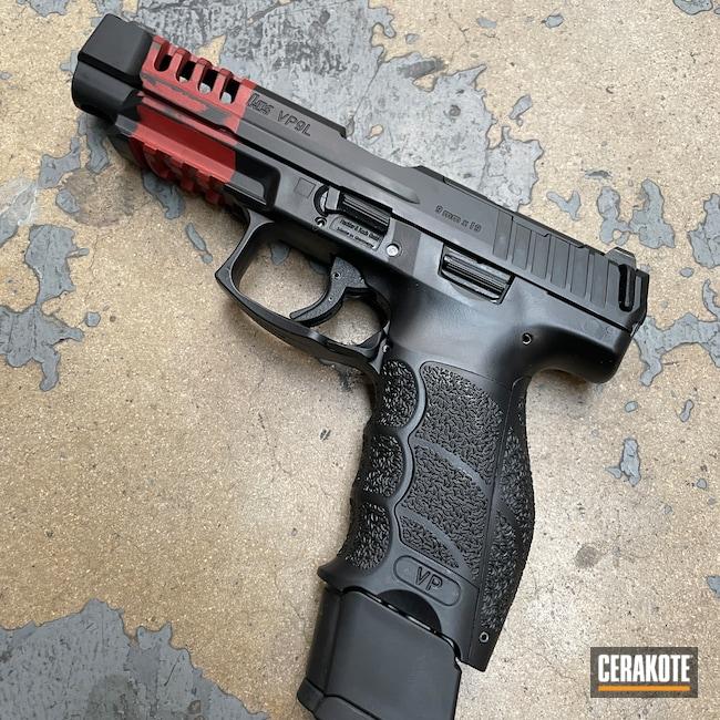 Cerakoted: S.H.O.T,9mm,Battleworn,Graphite Black H-146,HK Pistol,HKVP9,Crimson H-221,Worn,Pistol,Handguns,Stripes