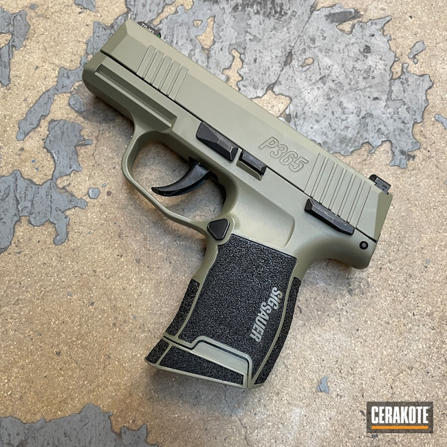 Cerakoted: S.H.O.T,Sig P365,HAZEL GREEN H-204,Sig Sauer P365,Graphite Black H-146,Pistol,Sig Sauer,Handguns