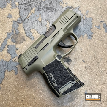 Sig Sauer P365 Pistol Cerakoted Using Hazel Green And Graphite Black