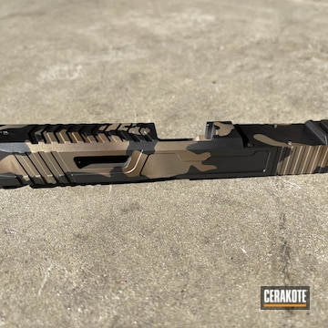 Custom Camo Dynamic Weapons Solutions Slide Cerakoted Using Plum Brown, Graphite Black And Burnt Bronze
