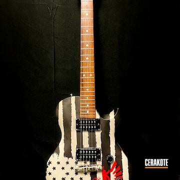 American Flag Themed Electric Fender Guitar Cerakoted Using Titanium, Armor Black And Firehouse Red