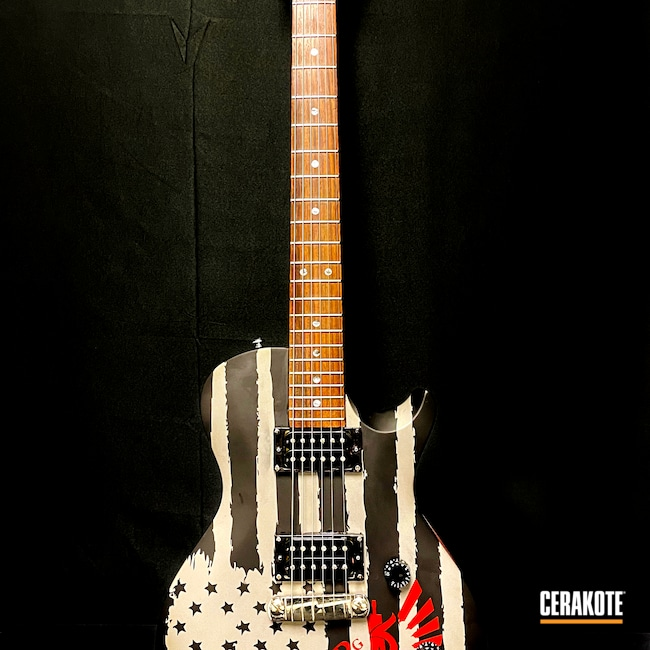 Cerakoted: Titanium E-250,FIREHOUSE RED H-216,Fender,Electric Guitar,Rock Island Armory,Armor Black H-190,Music,Guitar