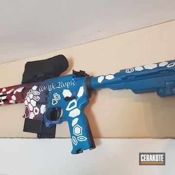 Kryptek Camo Ar Cerakoted Using Crimson, Stormtrooper White And Sky Blue