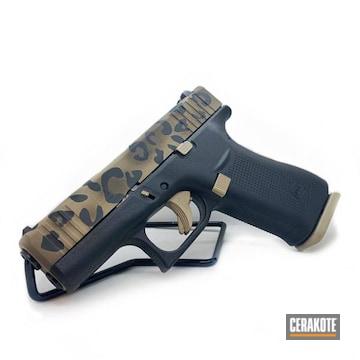 Leopard Print Themed Glock 43x Cerakoted Using Desert Sand, Chocolate Brown And Graphite Black