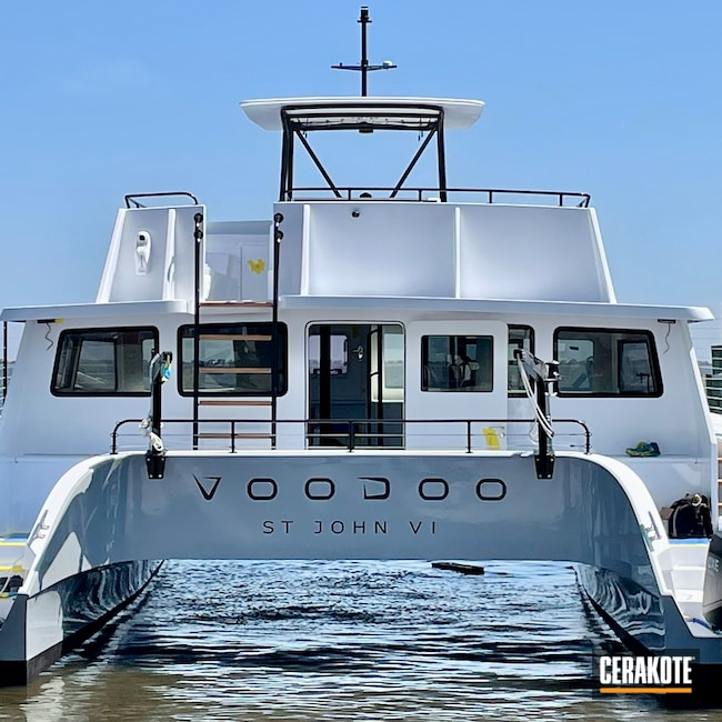 Cerakoted: T-Top,Handrail,Construction,Stairs,Acrylic,Aluminum,Gloss Black H-109,Davit,Steering Wheel,CERAKOTE GLACIER BLACK C-7600,Boat,Marine,Stanchions