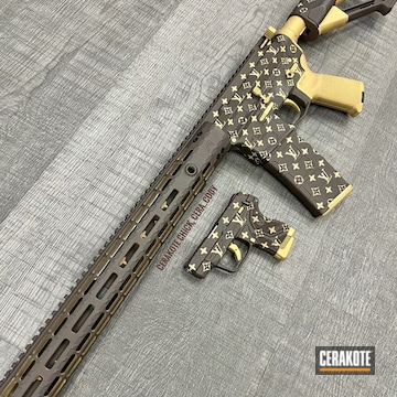 Louis Vuitton Themed Ar And Ruger Lpc2 Cerakoted Using Desert Sand And Chocolate Brown