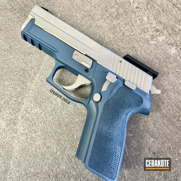 Sig Sauer P229 Cerakoted Using Bright Nickel And Blue Titanium