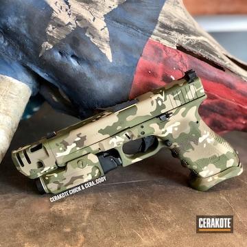 Multicam Glock 22 Cerakoted Using Desert Sand, Sniper Green And Light Sand