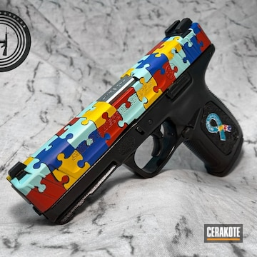 Smith & Wesson Sd40ve Cerakoted Using Sunflower, Habanero Red And Nra Blue