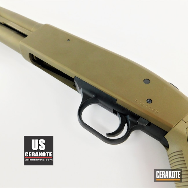 Cerakoted: S.H.O.T,Tactical Shotgun,Shotgun,Firearm,Shotgun Barrel,Burnt Bronze H-148,12 Gauge,Mossberg,Mossberg 500