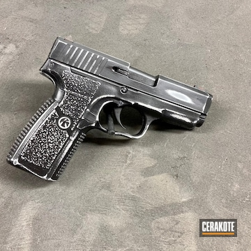 Distressed Kahr Arms Cw45 Pistol Cerakoted Using Armor Black And Bright White