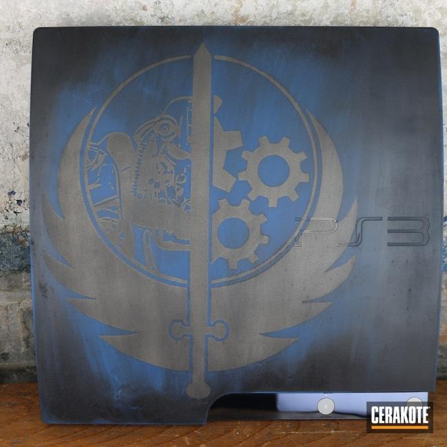 Cerakoted: playstation,Graphite Black H-146,Ridgeway Blue H-220,Titanium H-170,Electronics,Gaming