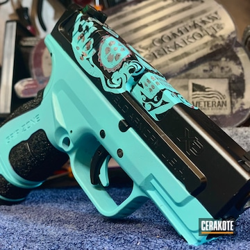 Day Of The Dead Themed Springfield Armory Xdm Cerakoted Using Rose Gold, Titanium And Gloss Black