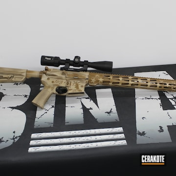 Statue Of Liberty Themed Ar Cerakoted Using Troy® Coyote Tan And Desert Sand