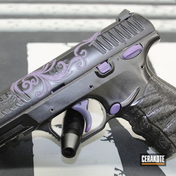 Walther Ccp Pistol Cerakoted Using Gloss Black And Bright Purple