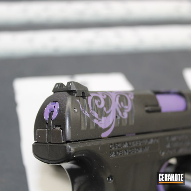 Cerakoted: S.H.O.T,Conceal Carry,Girls,CCP,Pistol,Girly,Semi-Auto,.9,Handgun,9mm,Conceal,Walther,Gloss Black H-109,Bright Purple H-217,Women's Gun,Guns for Girls