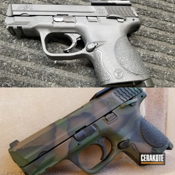 Custom Camo Smith & Wesson M&p Cerakoted Using Highland Green, Chocolate Brown And Blackout