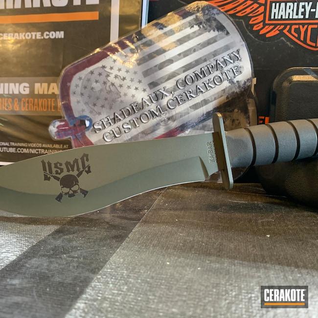 Cerakoted: S.H.O.T,USMC,Knife,MAGPUL® O.D. GREEN H-232,Custom Knives