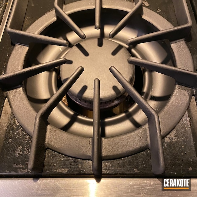 Kitchen Stove Burners Cerakoted Using Armor Black