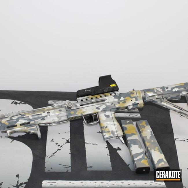 Custom Camo Submachine Gun Cerakoted Using Gun Metal Grey, Satin Aluminum And Cobalt Kinetics™ Slate