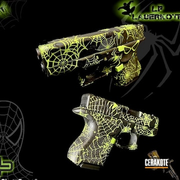 Spider-man Themed Zombie Edition Glock 26 Cerakoted Using Zombie Green, High Gloss Ceramic Clear And Graphite Black