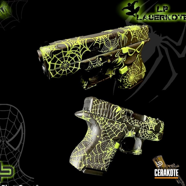 Cerakoted: S.H.O.T,Unique,Bright Colors,Compact Carry,Zombie Green H-168,Pistol,Spiderweb,Spiders,9mm,Zombie,Spiderman,Gloss Black H-109,Graphite Black H-146,HIGH GLOSS CERAMIC CLEAR MC-160,Glock,Handguns,Glock 26
