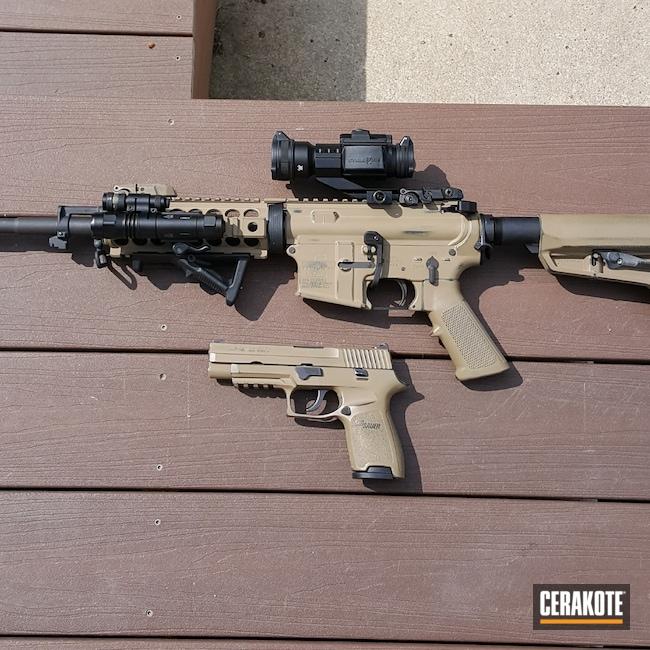 Cerakoted: S.H.O.T,9mm,Sig P250,Coyote Tan H-235,Graphite Black H-146,Worn,Sig,5.56,Bushmaster,AR-15